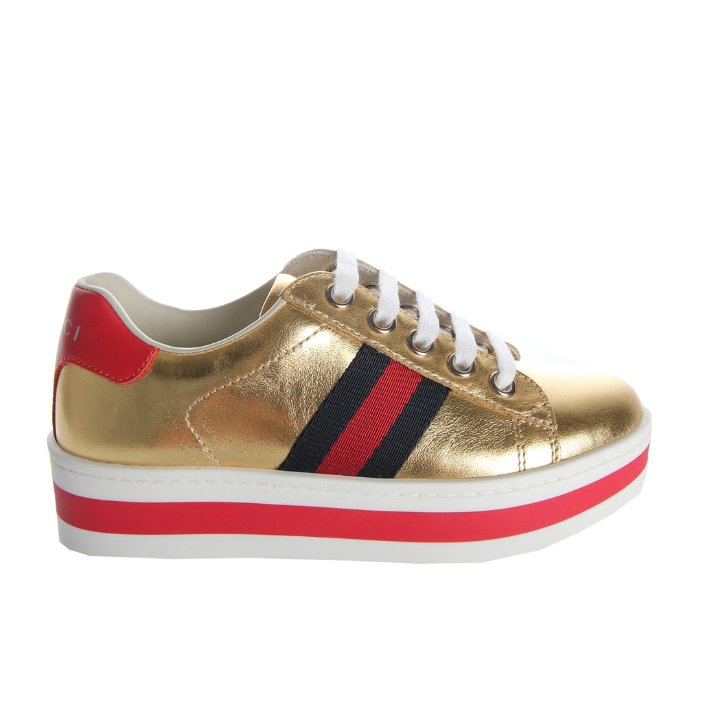 Gucci Girls Gold Leather Platform Trainers