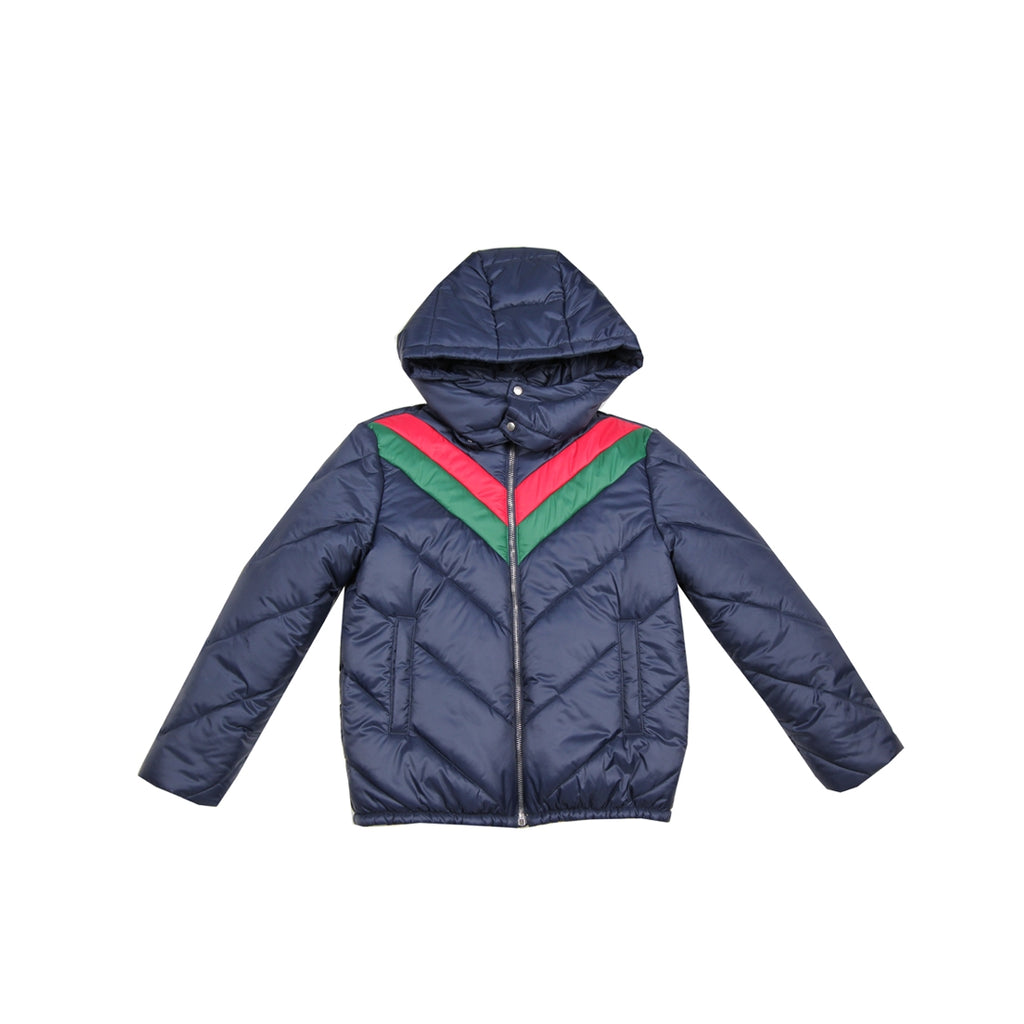 Gucci Kids Chest Web V Quilted Navy Jacket