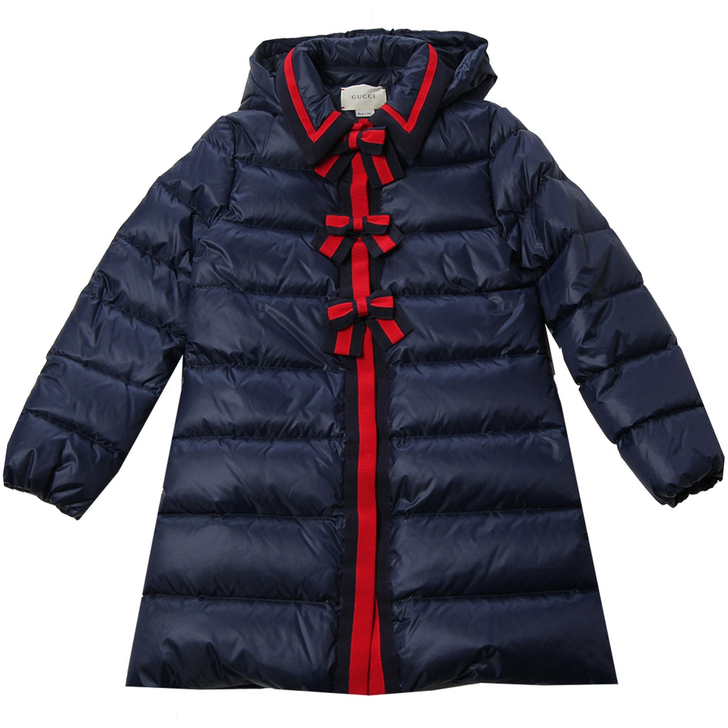 Gucci Girls Navy Web Bow Down Jacket
