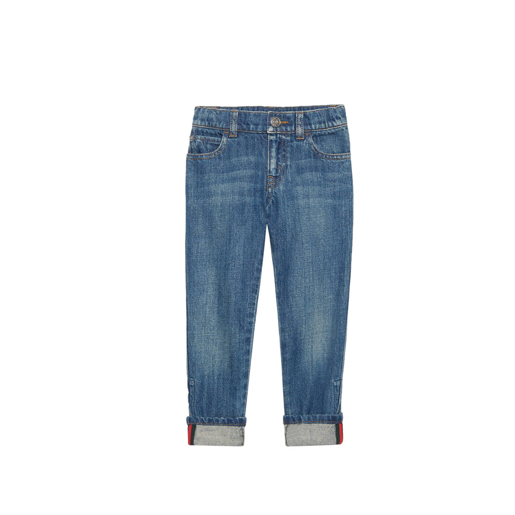 Gucci Kids Denim Web Jeans