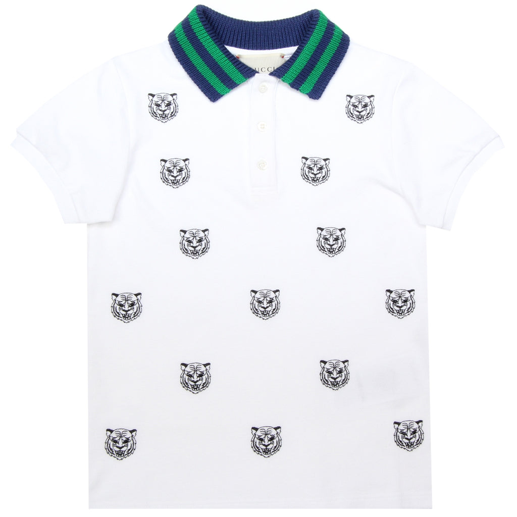 Gucci Kids Tiger Embroidered White Polo Shirt