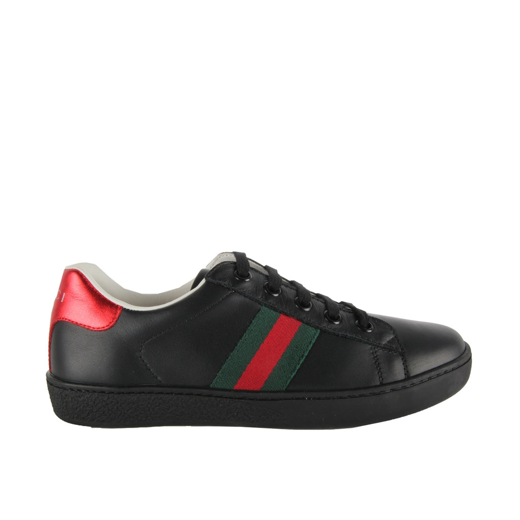 Gucci Kids Black Leather Low Top Trainers