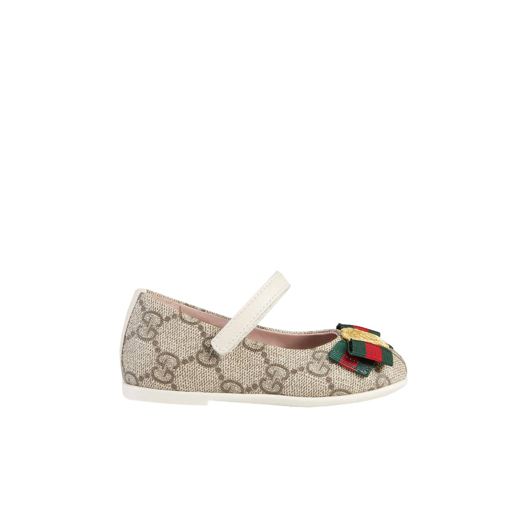 Gucci Girls GG Beige Ballet Flat Shoes