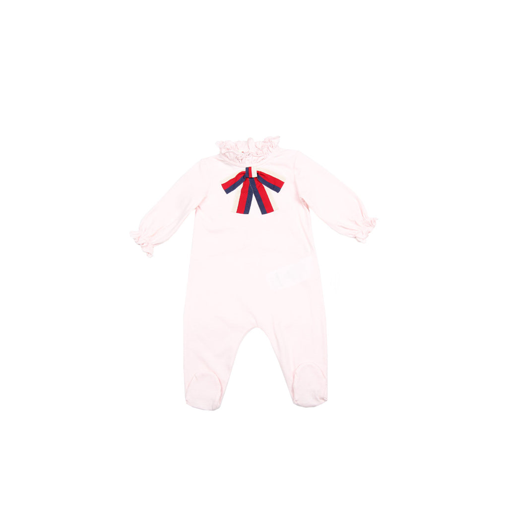 Gucci Baby Girl Web Bow Pink Sleeping Romper