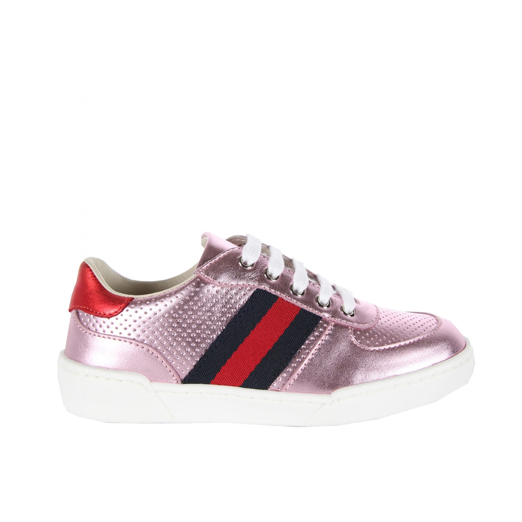 Gucci Girls Side Web Pink Trainers