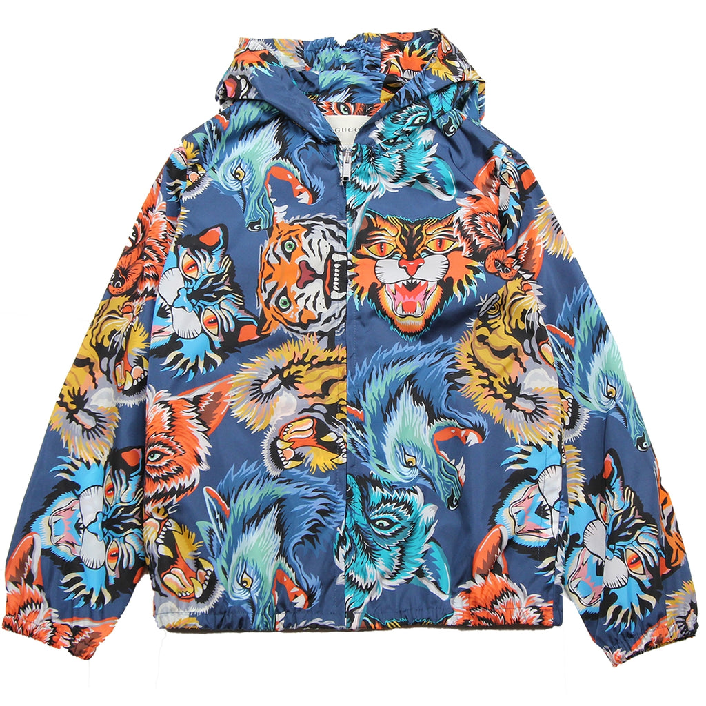 Gucci Kids Animal Print Face Blue Jacket