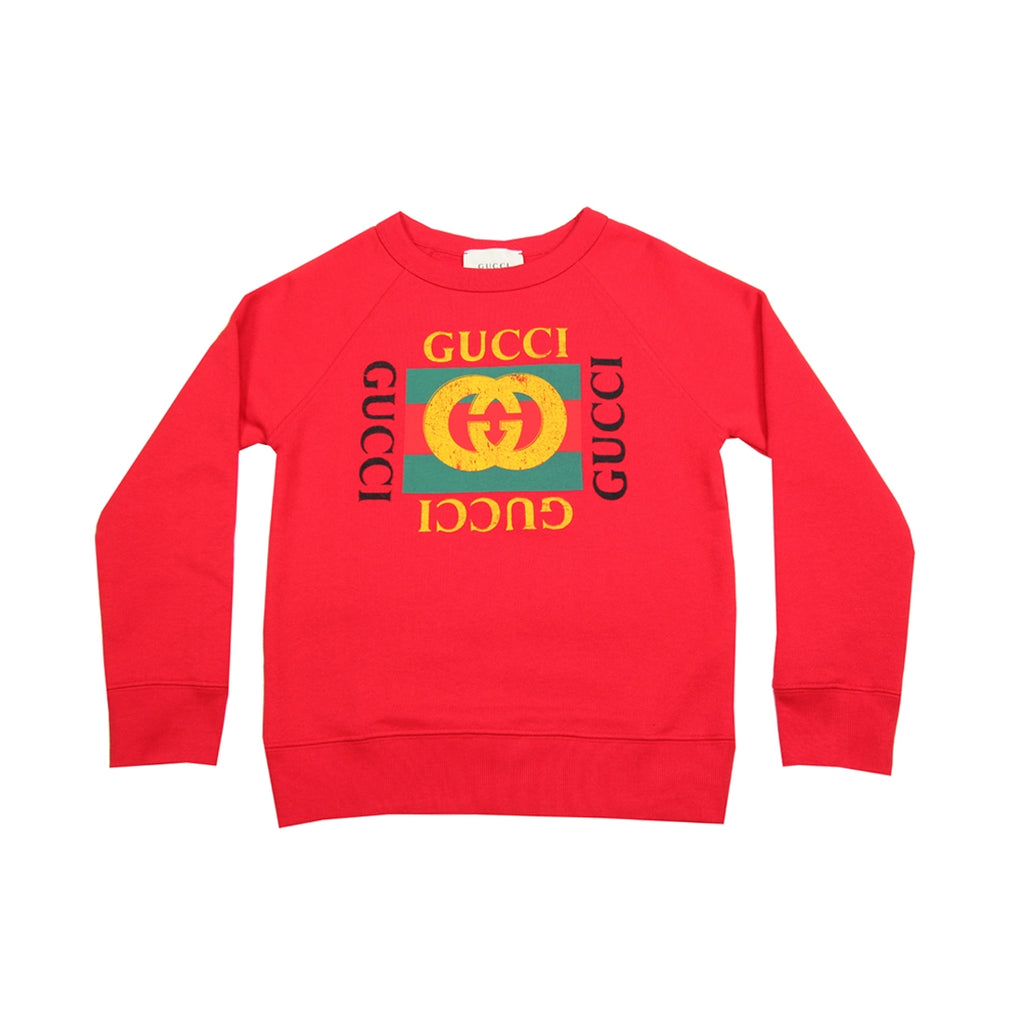 Gucci Kids GG Web Logo Red Sweat Top