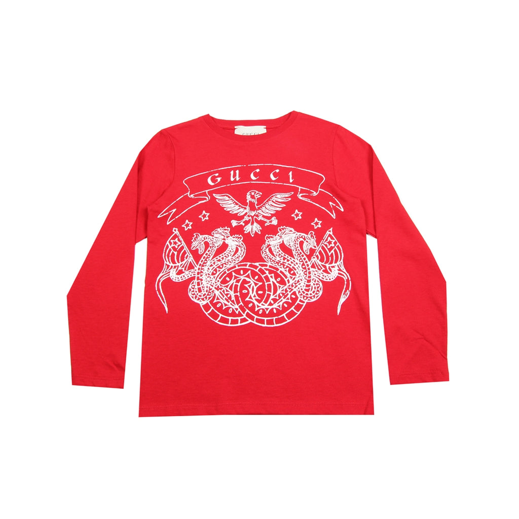 Gucci Kids Dragons & Eagle Print Red Top
