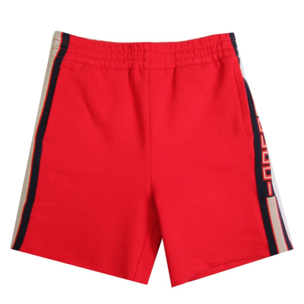 Gucci Kids Boys Red Side Stripe Jersey Shorts