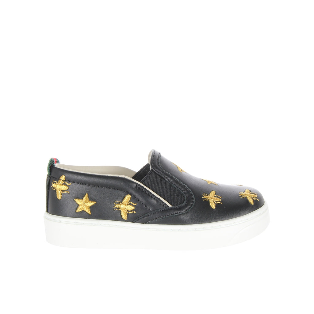 Gucci Kids Gold Stars and Bees Slip On Black Trainers