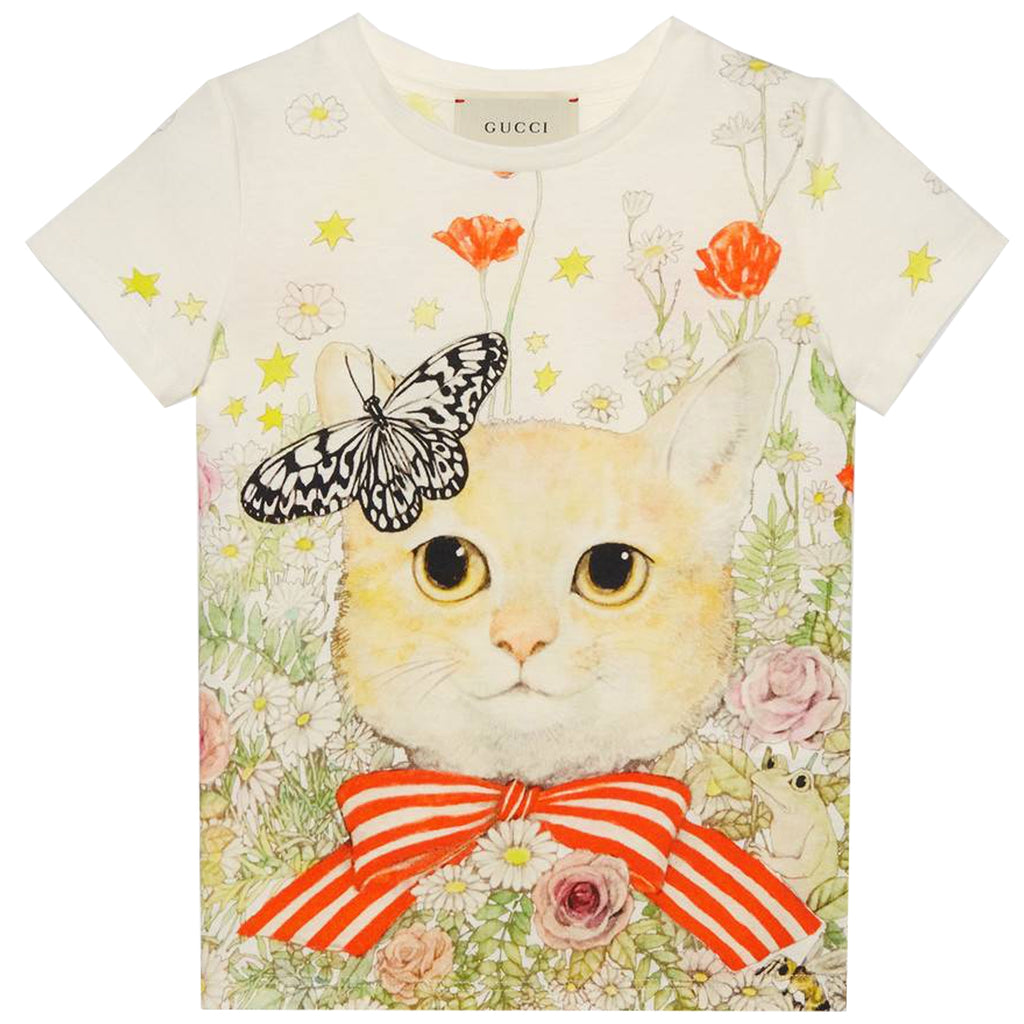 Gucci Girls Cat Print White T-Shirt