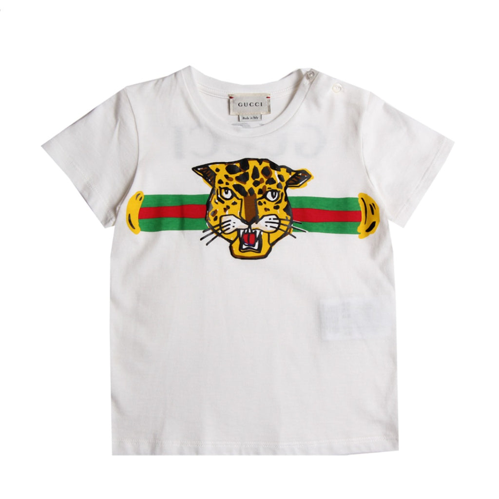 Gucci Baby White Tiger Print T-Shirt