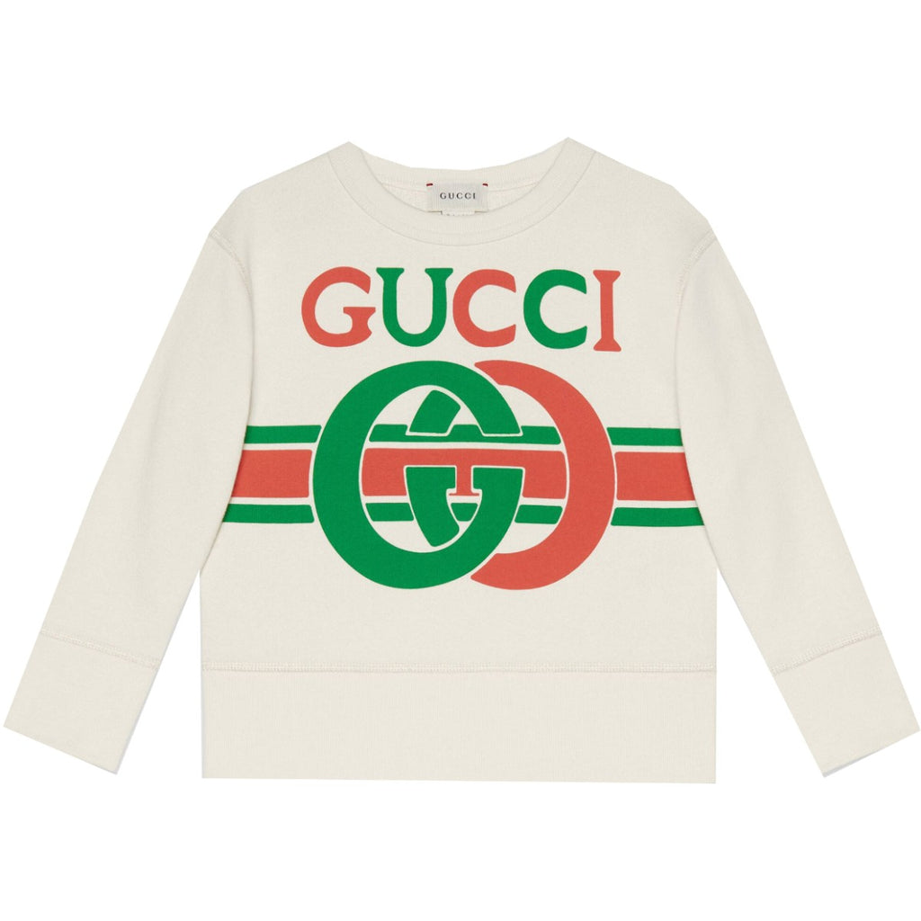 Gucci Kids Interlocking GG White Sweatshirt