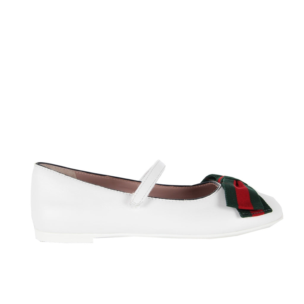 Gucci Girls White Ballet Flats