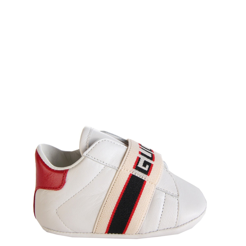 Gucci Baby White Ace Shoes with Gucci Stripe