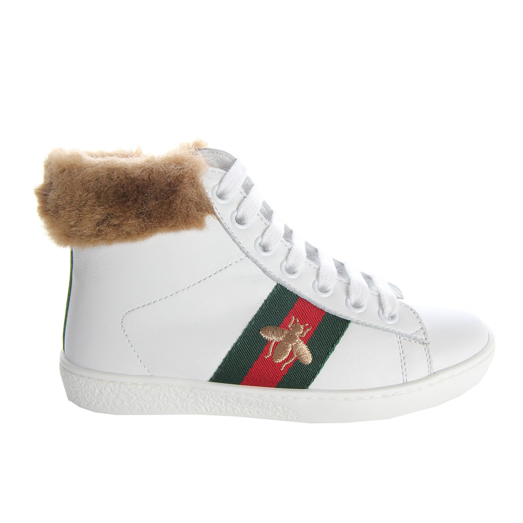 Gucci Kids Fur White Leather High Top Trainers