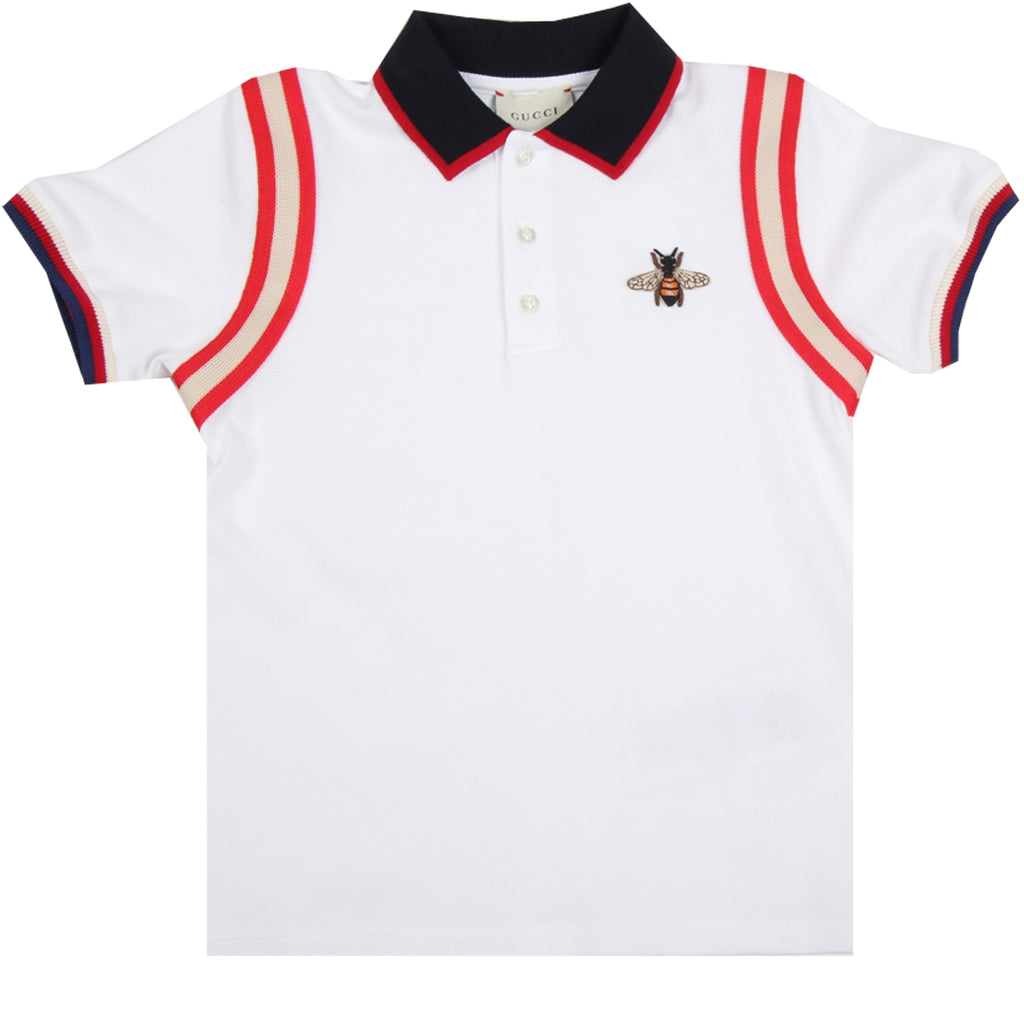 Gucci Kids White Embroidered Bee Polo Shirt