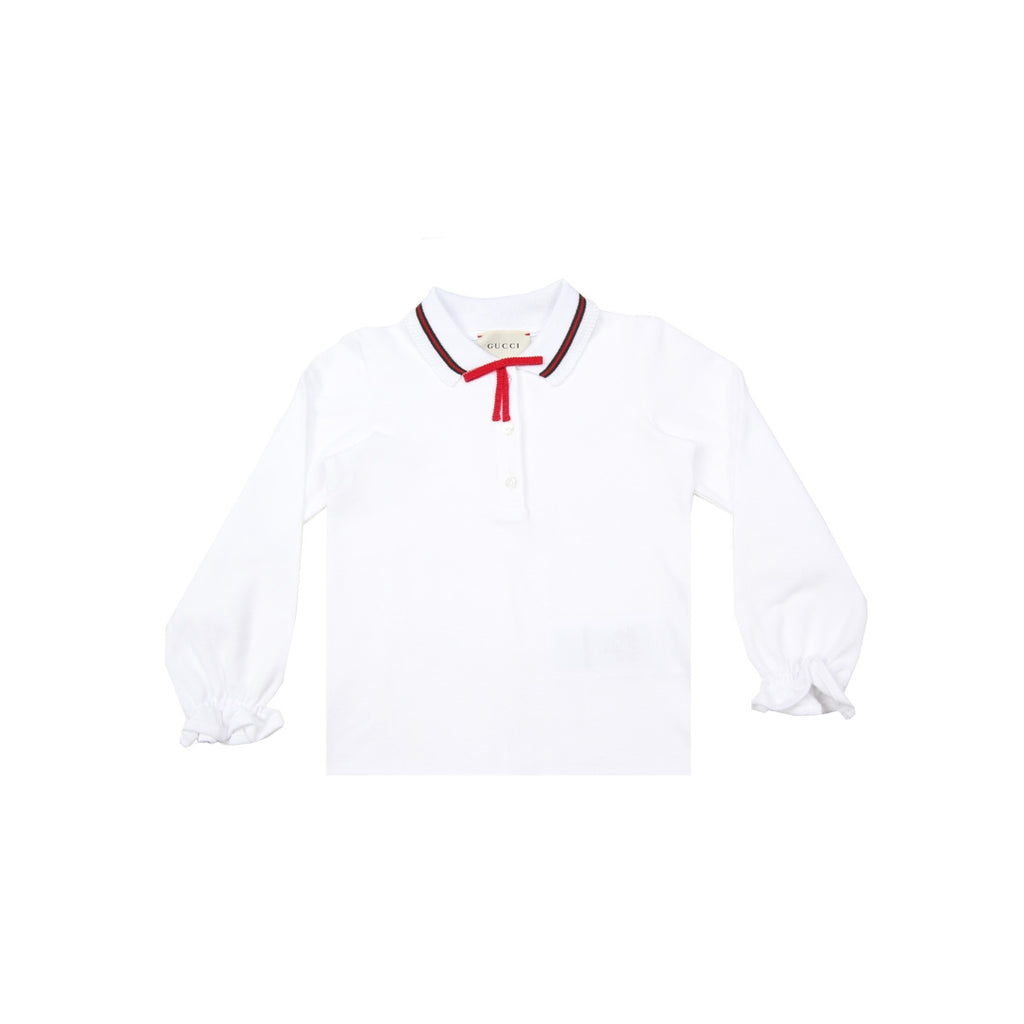 Gucci Baby Red Bow White Polo Top