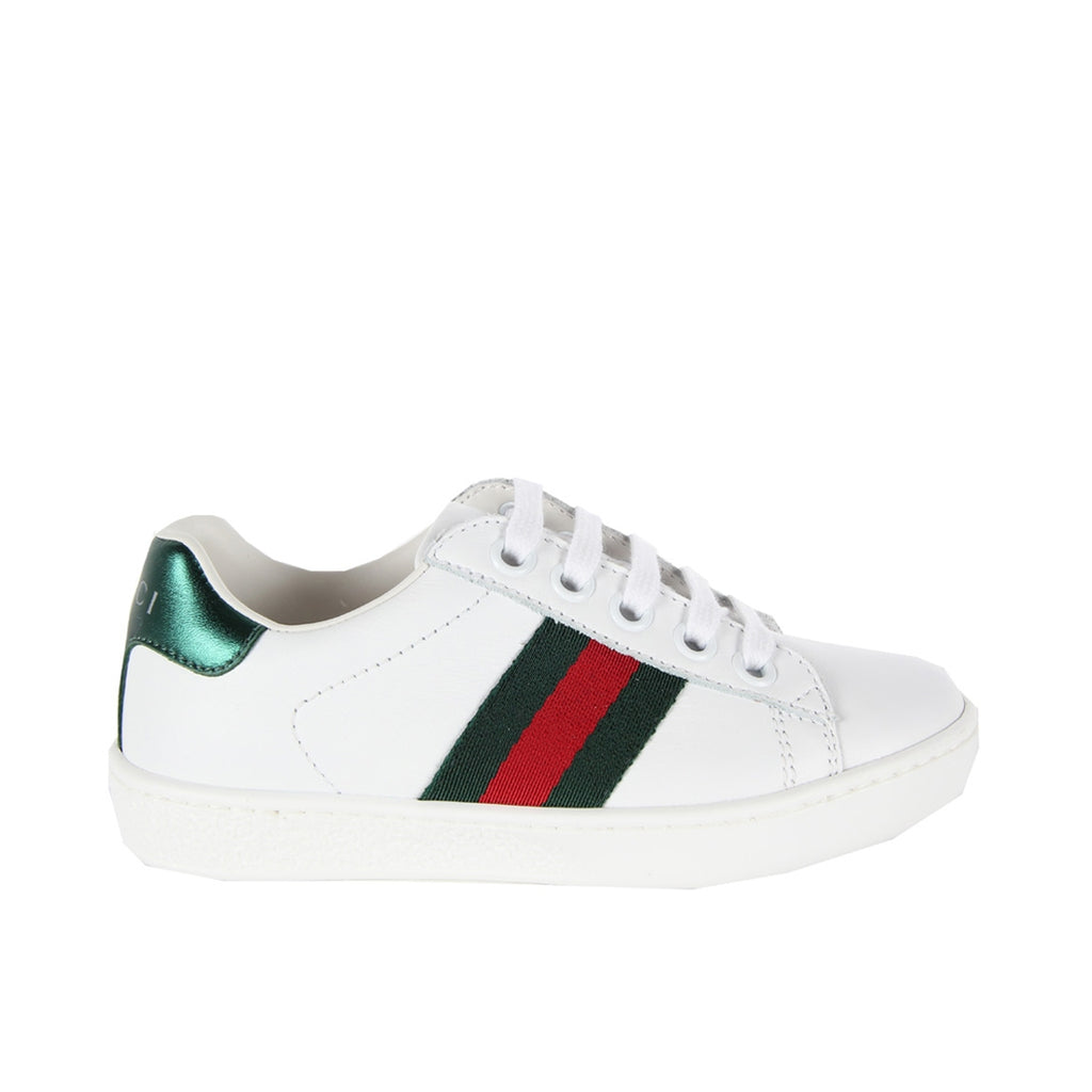 Gucci Kids Side Web White Trainers