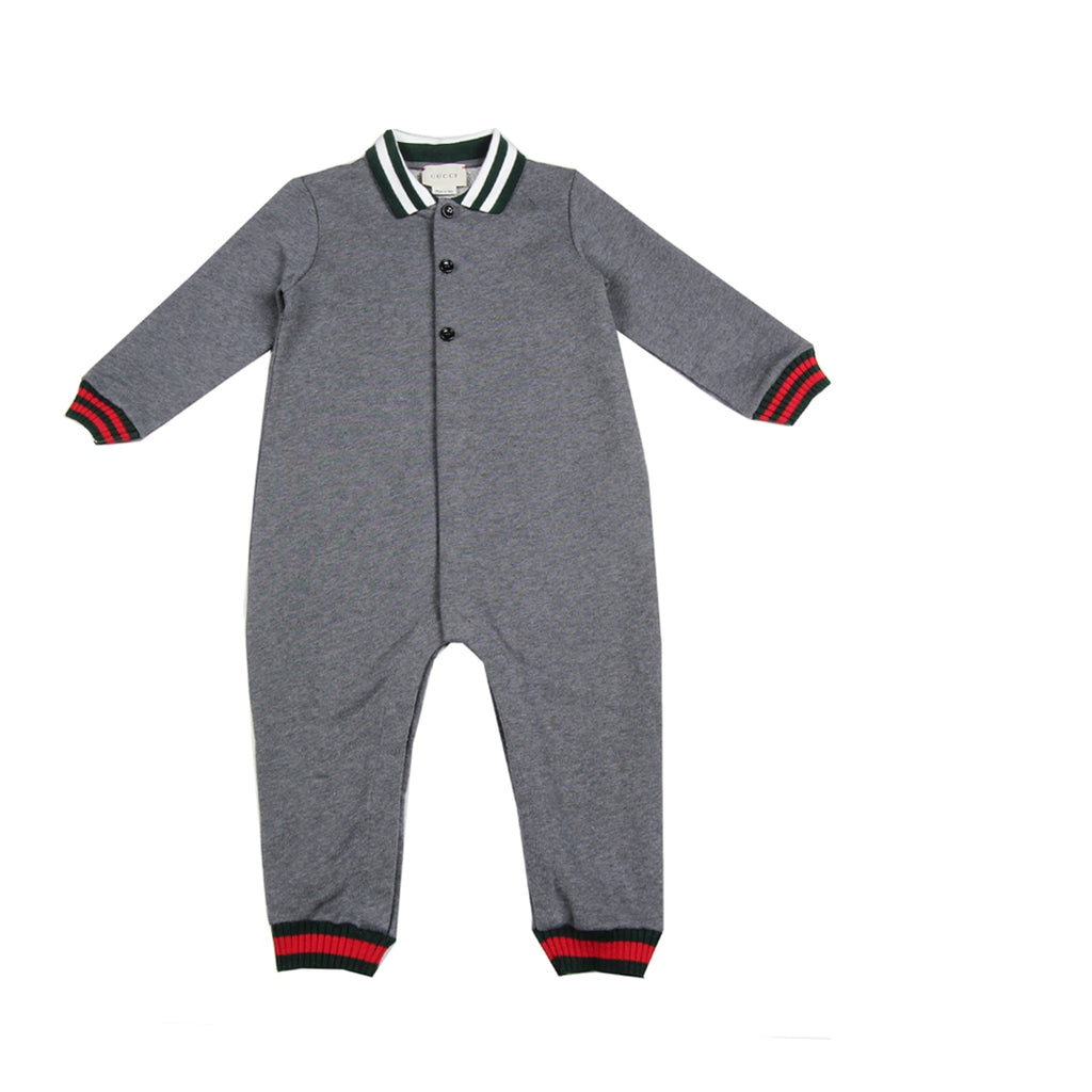Gucci Baby Signature Web Grey Sleepsuit