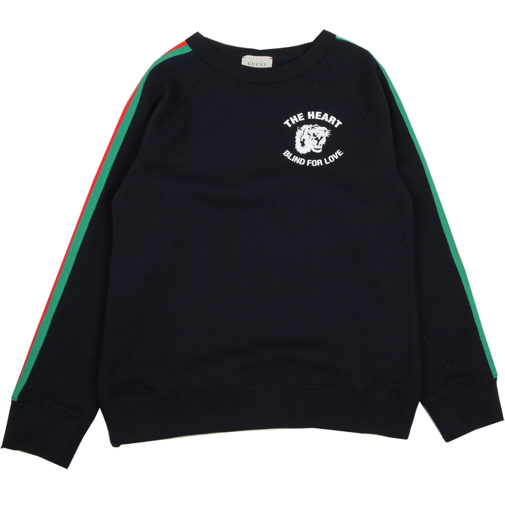 Gucci Kids Print Tiger Logo Navy Sweatshirt