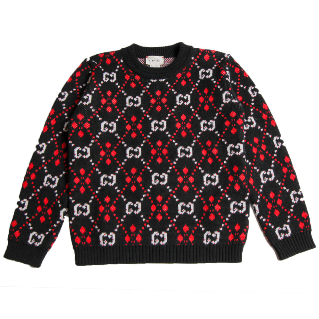 Gucci Kids GG Printed Black Jumper