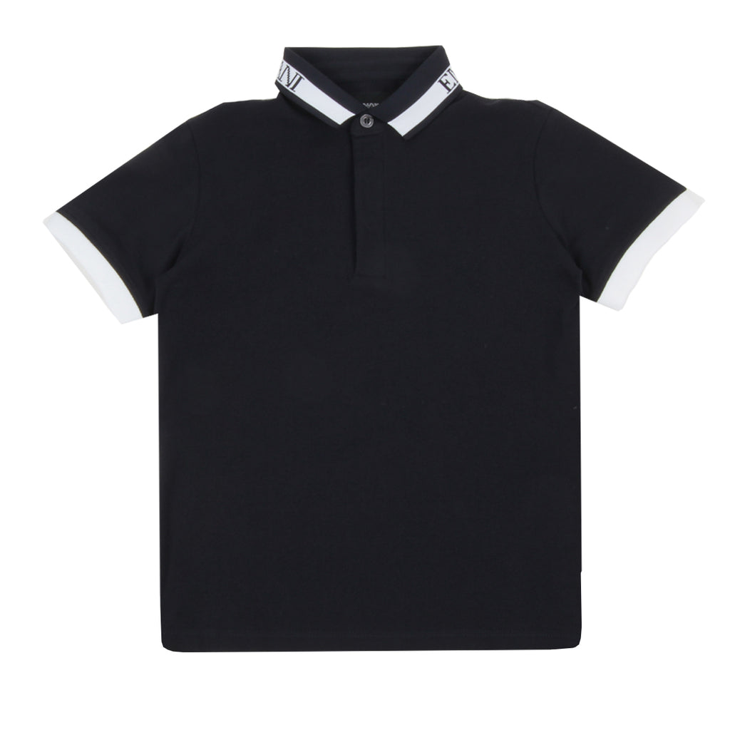 Armani Junior Contrast Collar Logo Polo Shirt