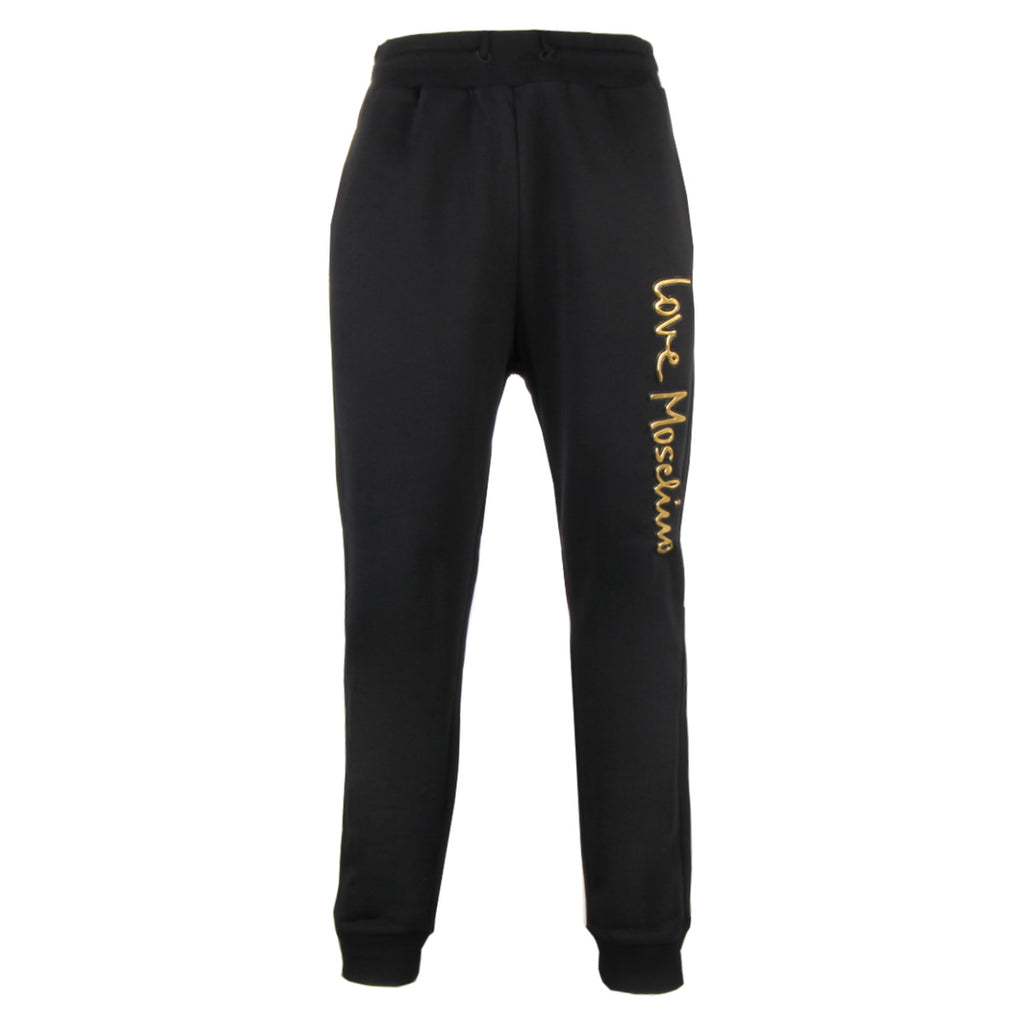 Love Moschino Black Embossed Logo Trousers