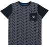 Armani Junior All Over Print Logo Navy T-Shirt