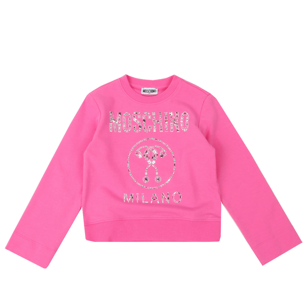 Moschino Kids Milano Crystal Embellished Sweatshirt