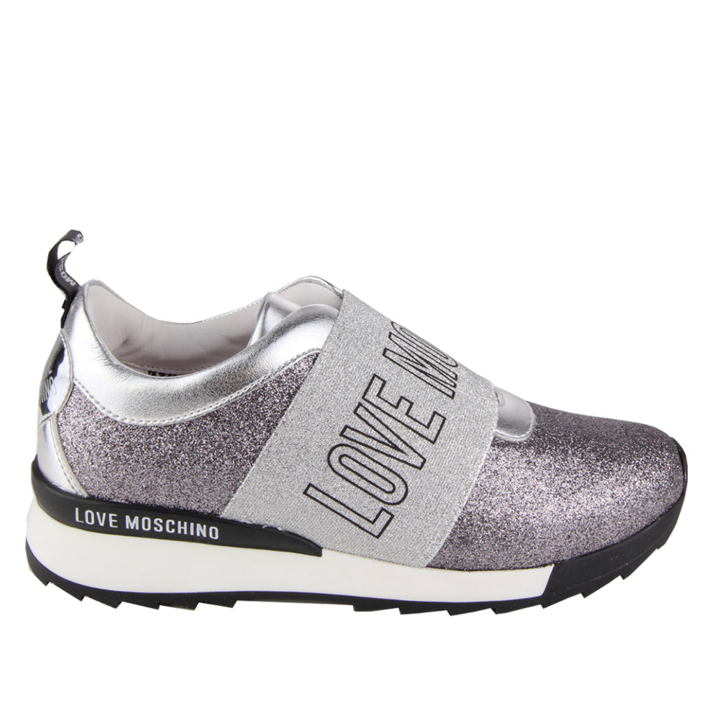 Love Moschino Grey Glitter Strap Trainer