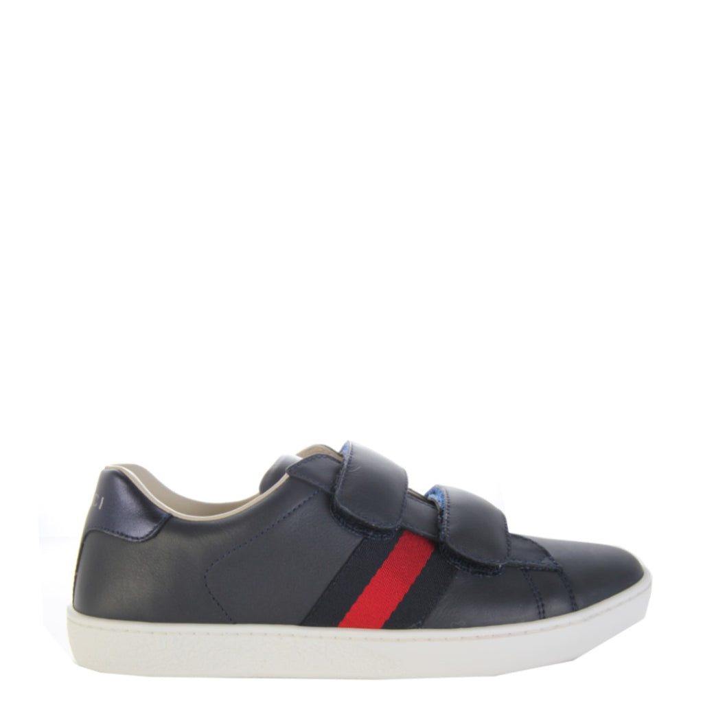 Gucci Kids Navy Leather Shoes
