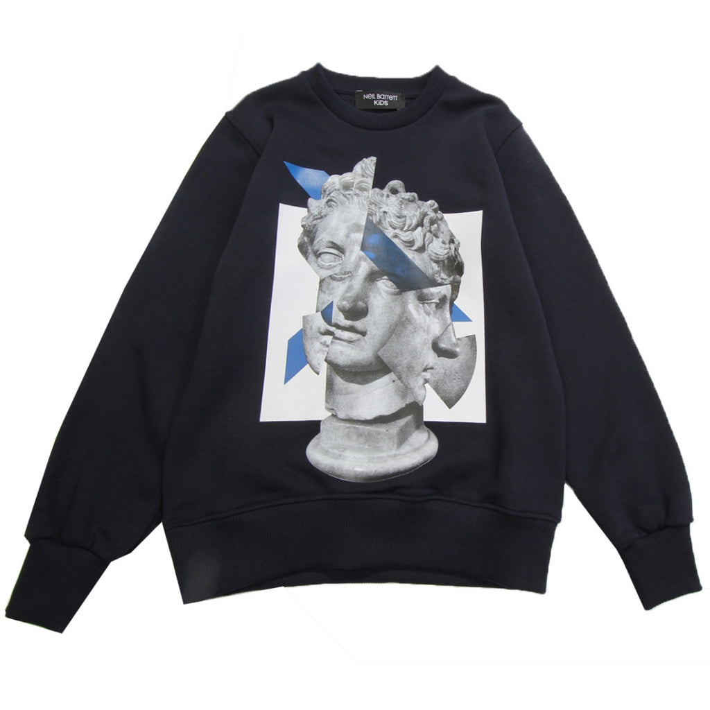 Neil Barrett Kids Navy Statue Print Sweatshirt