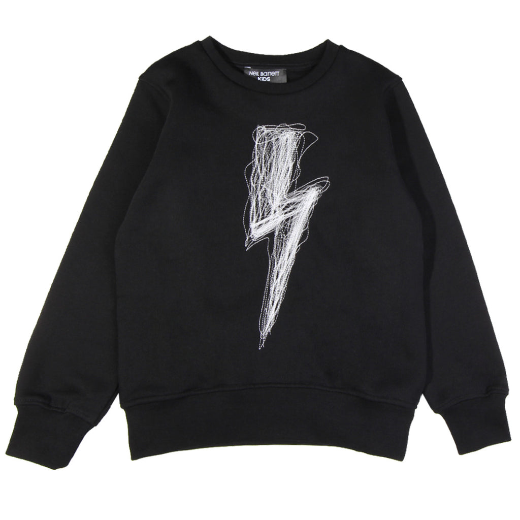 Neil Barrett Kids Embroidered Thunderbolt Logo Sweatshirt