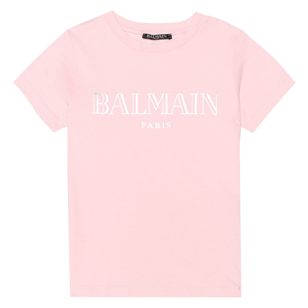 Balmain Paris Girls Pink Logo Printed T-Shirt