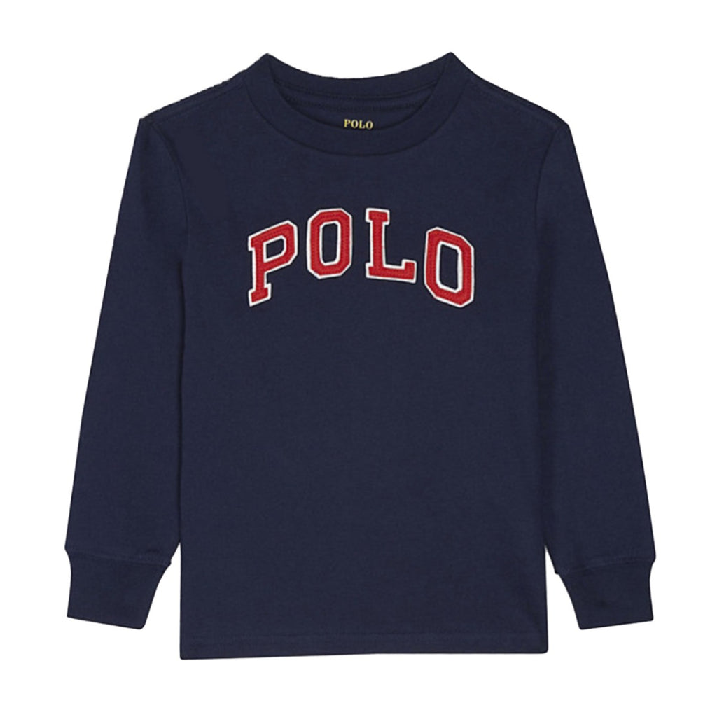 Ralph Lauren Kids Navy Embossed Logo T-shirt