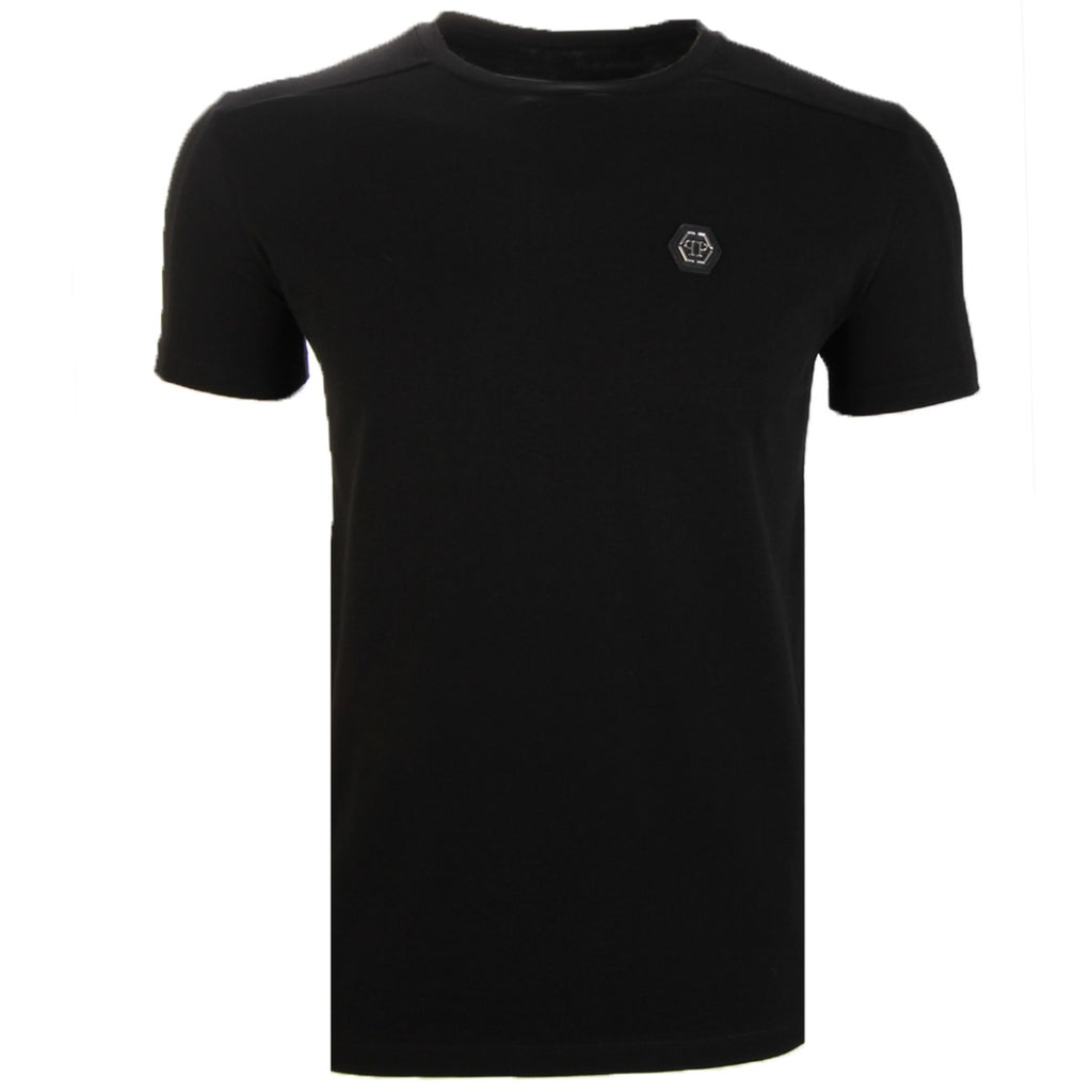 Philipp Plein Black Logo Badge Cotton T-Shirt