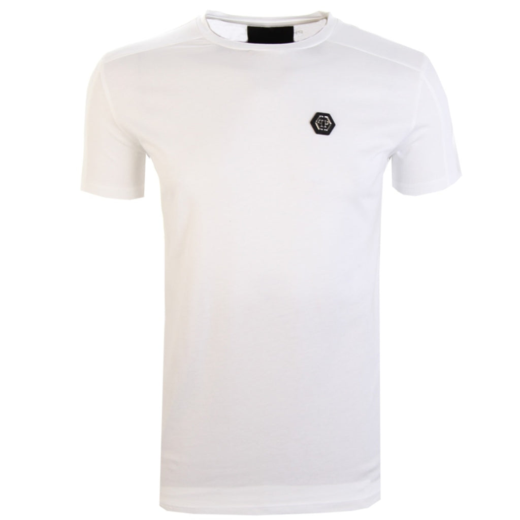 Philipp Plein White Logo Badge Cotton T-Shirt