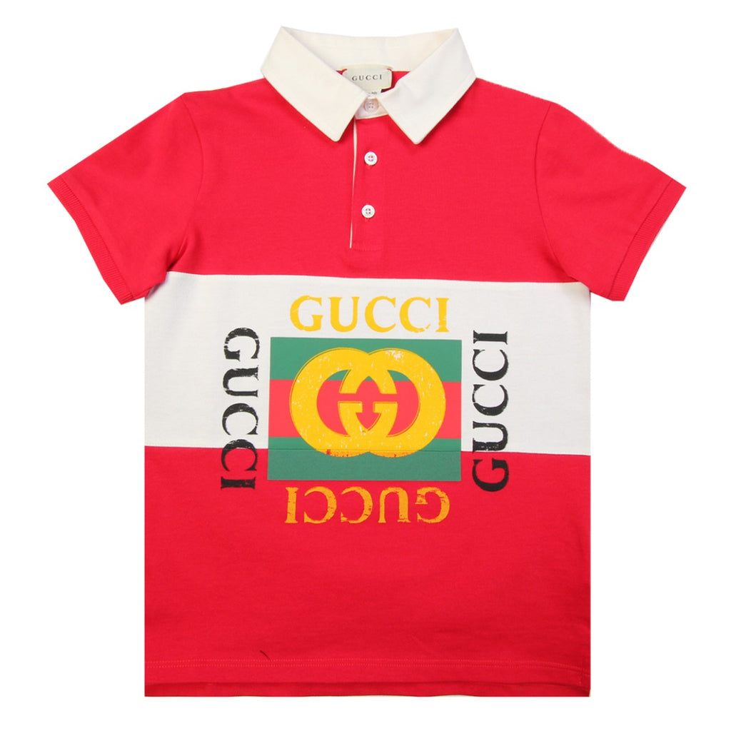 Gucci Kids GG Vintage Logo Red Polo Shirt