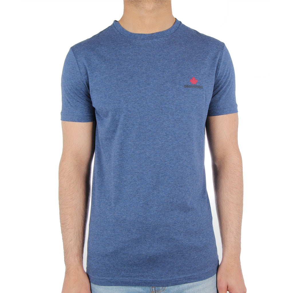 DSquared2 Red Leaf Logo Blue T-Shirt
