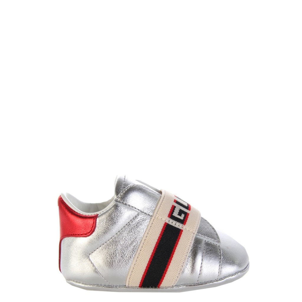 Gucci Kids Silver Ace Shoes With Gucci Stripe