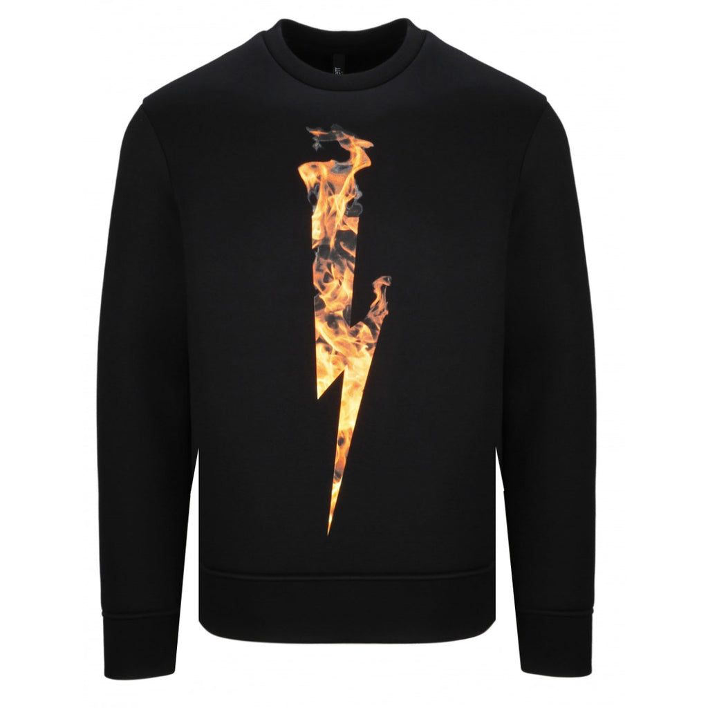 Neil Barrett Black Flame Thunderbolt Bonded Sweatshirt