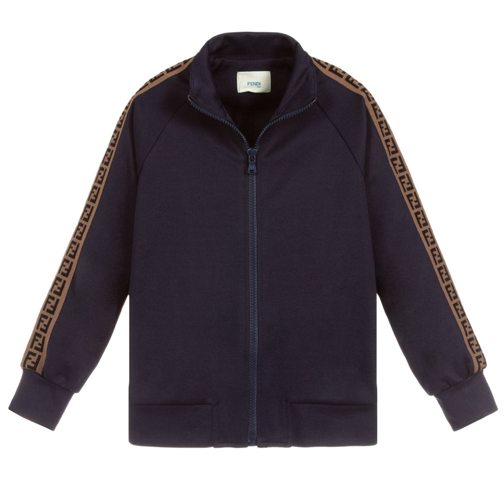 Fendi Junior Blue Logo Tape Zip Up Jacket