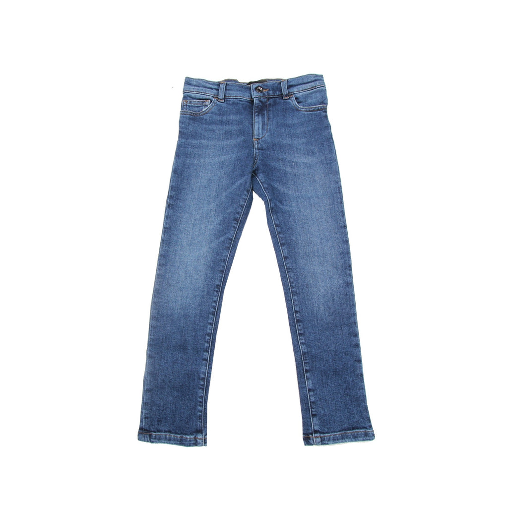 Dolce & Gabbana Kids Leather Logo Denim Jeans