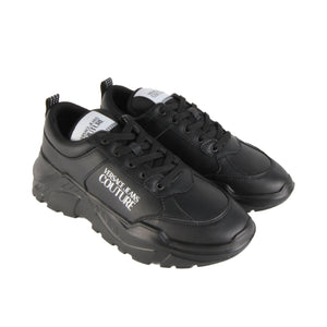 Versace Jeans Couture Black Leather Blend Speed Trainers