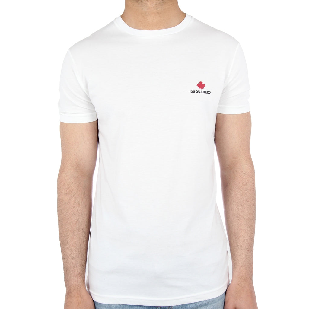 DSquared2 Red Leaf Logo White T-Shirt