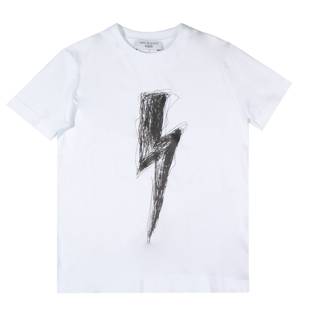 Neil Barrett Kids White Thunderbolt Logo T-shirt