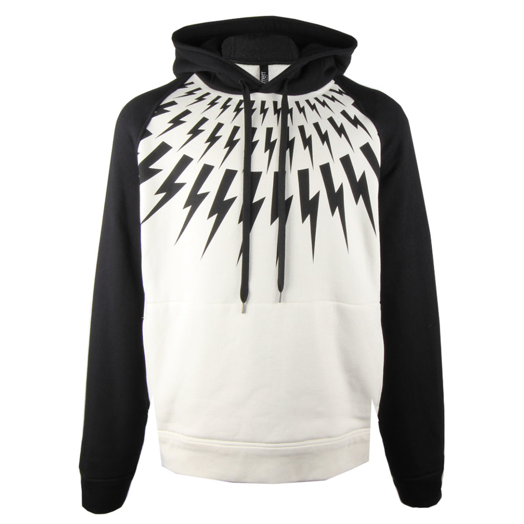 Neil Barrett Black Fair-isle Thunderbolt Hoodie