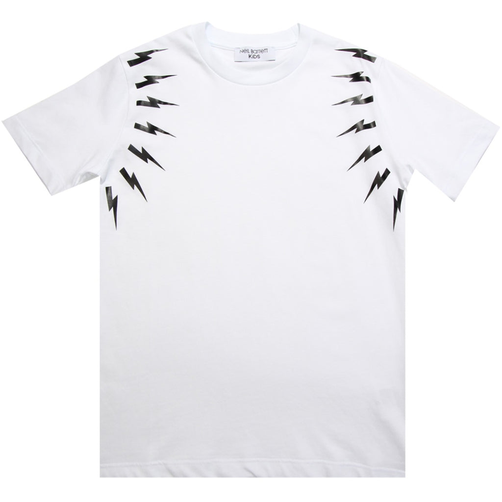 Neil Barrett Kids White Fairisle Thunderbolt T-shirt