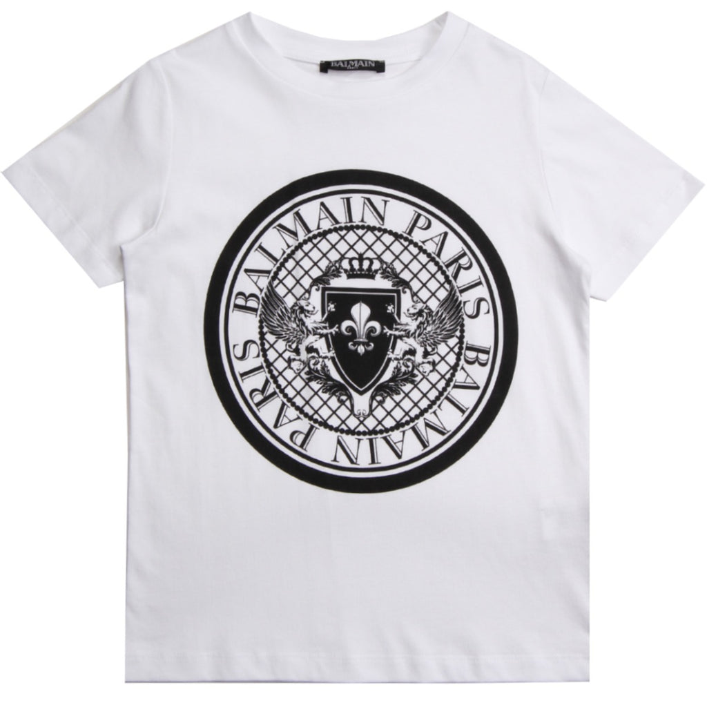 Balmain Paris Kids White Logo Printed T-Shirt